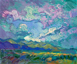 A contemporary impressionistic burst of color, by celebrated oil painter Erin Hanson.