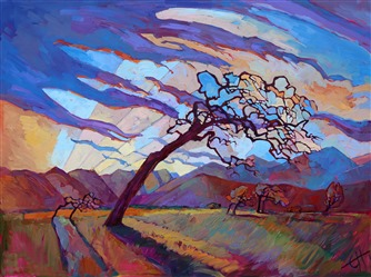 Modern expressionism oil painting of San Luis Obispo county, by Erin Hanson