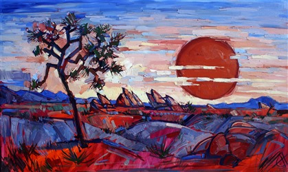 Abstract impressionist oil painting desertscape by Erin Hanson.