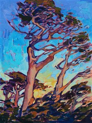 Monterey cypress oil painting by California impressionist Erin Hanson