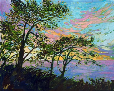 Torrey Pines oil impressionistic painting by local San Diego artist Erin Hanson