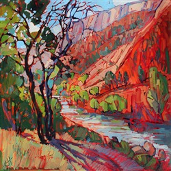 Zion National Park contemporary landscape oil painting by Erin Hanson