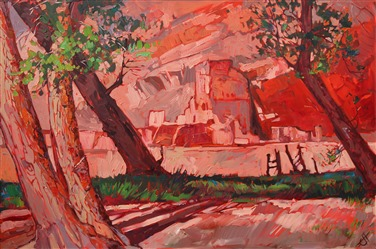 Canyon de Chelly ruins, captured in expressive oils by artist Erin Hanson