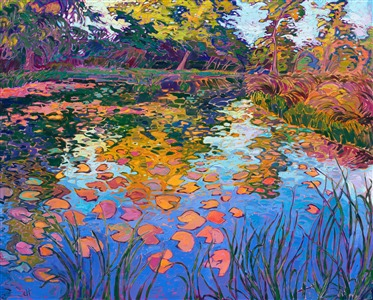 Lilies impressionism oil painting in a modern style, by artist Erin Hanson