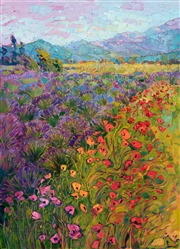 Sequim Washington lavender fields oil painting by modern landscape painter Erin Hanson