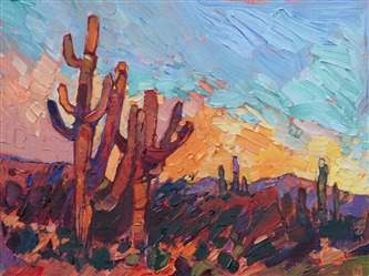 Desert landscape painting of Saguaro cactus in gold carved frame, oil painting by impressionist artist Erin Hanson