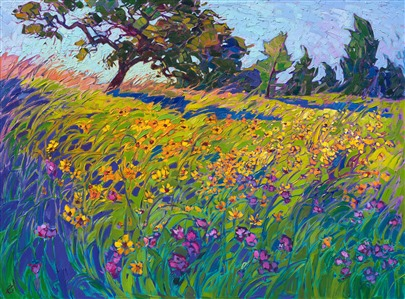 Texas hill country wildflower oil painting by landscape painter Erin Hanson
