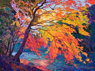 Kyoto Japan maple tree oil painting by master impressionist Erin Hanson