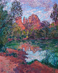 Sedona Oak Creek oil painting with red rock desert color and thick impressionistic brush strokes, by Erin Hanson