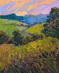 Paso Robles landscape painter Erin Hanson paints with colorful abstract shapes.