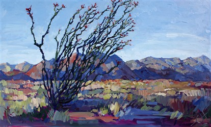 Mojave Ocotillo, original oil painting by Erin Hanson.