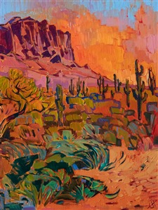 Superstition Mountains original oil painting purchase impressionist artwork by Erin Hanson
