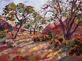 Zion National Park, thick impasto oil paint application in alla prima, by modern artist Erin Hanson
