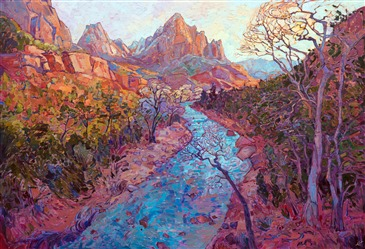 Zion National Park original oil painting from Zion Art Museum, by Erin Hanson
