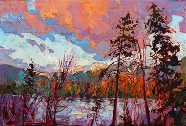 Dramatic landscape painting of Montana near Glacier Park, by Erin Hanson