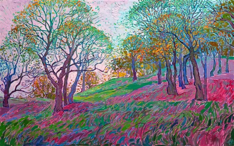 East coast New Hampshire fall colors autumn oil painting by modern impressionist Erin Hanson.