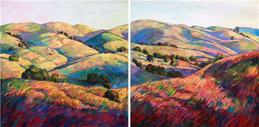 Giant oil painting on two panels, by California impressionist Erin Hanson