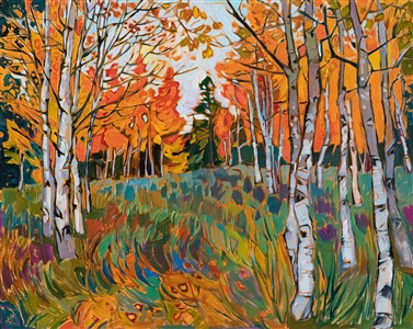 Southern Utah aspen trees original oil painting for sale by modern impressionist Erin Hanson