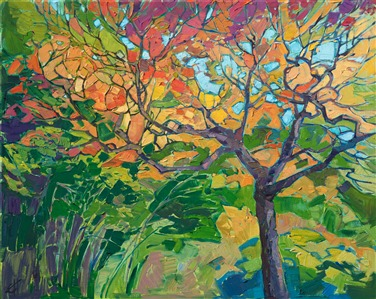 Oil painting of beautiful Japanese fall colors in a colorful expressionistic style by artist Erin Hanson