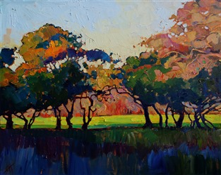 Unexpected color pops in this original oil painting of Paso Robles, by Erin Hanson