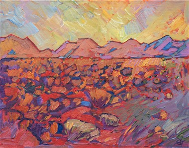 Impressionist landscape painting of Arizona by California artist Erin Hanson