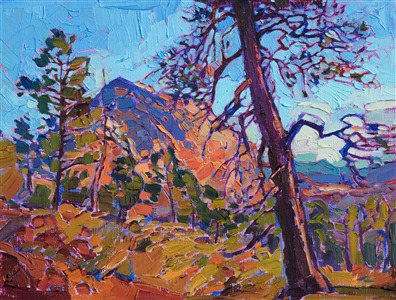 Zion National Park petite oil painting by Erin Hanson, hanging at the Zion Art Museum in Springdale.