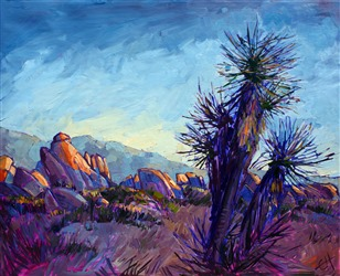 Cactus Rainbow, original oil painting by Erin Hanson
