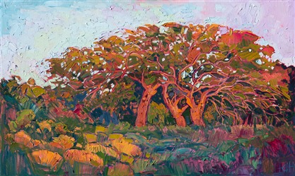 California oaks painted in bold color by oil painter Erin Hanson