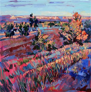 Original oil painting of the Arizona high desert, in the early morning light by California impressionist artist Erin Hanson