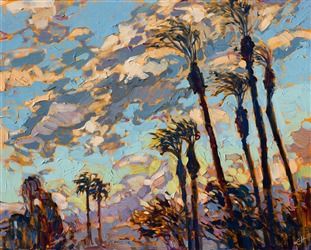 Palm Springs date palms against a desert sunset sky, an original oil painting for sale by the artist.