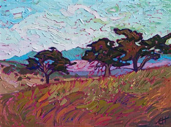 Oil Painting of oak trees on a hill painted impressionistically by Erin Hanson