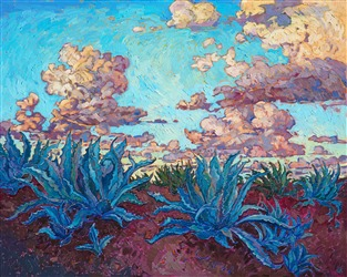 Agave Clouds, original oil painting by modern impressionist Erin Hanson.