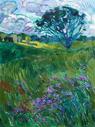 Texas wildflowers landscape impressionism oil painting by Erin Hanson