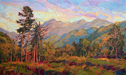 Carmel Valley landscape redwoods original oil painting by Erin Hanson