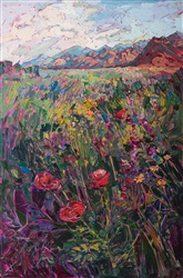 Coachella Valley oil painting of desert poppies.