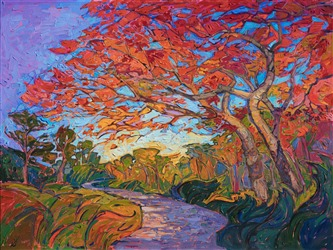 Japanese maple trees painted in colorful impressionistic brush strokes, by artist Erin Hanson.
