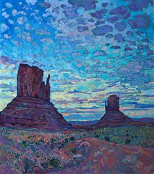 Monument Valley four corners oil painting landscape of a desert sunset, by Erin Hanson