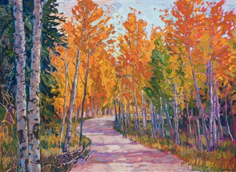 Cedar Breaks National Monument is captured in vivid fall colors by American impressionist Erin Hanson.