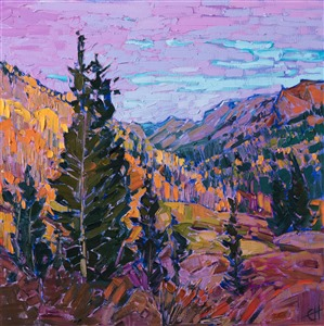 Colorado mountainside autumn colors oil painting by American impressionist painter Erin Hanson.