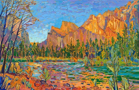 Yosemite colorful landscape original oil painting by Erin Hanson