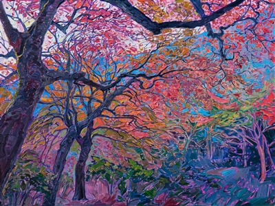 Japanese maple tree painting of red fall colors, by modern impressionist Erin Hanson.
