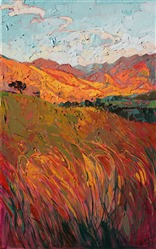 Summer grass fields with expressive and textured strokes of oil paint, by Erin Hanson
