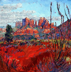 Sedona red rock oil painting by Erin Hanson