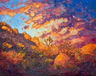 Modern impressionist landscape painting of Joshua Tree National Park, by Erin Hanson
