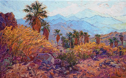 Indian Canyons palm oasis painting of Palm Springs, California, purchase the original oil painting by Erin Hanson.