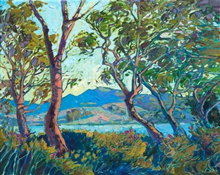 Oil painting of San Luis Obispo landscape surrounded by wispy trees, painted by contemporary artist Erin Hanson