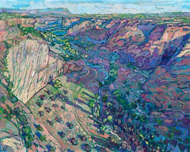 Canyon de Chelly Arizona western landscape oil painting in a modern impressionistic style, by Erin Hanson.