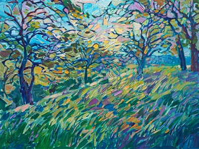 Viridian oaks painted in thick impasto oil paint, by modern impressionist Erin Hanson.