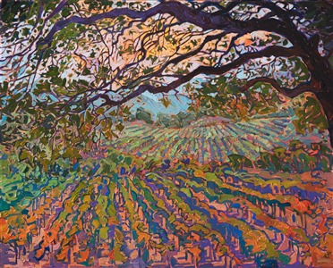 Napa California wine country landscape oil painting by contemporary artist Erin Hanson