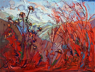 Red thistle painting inspired by San Luis Obispo county, artwork by Erin Hanson
